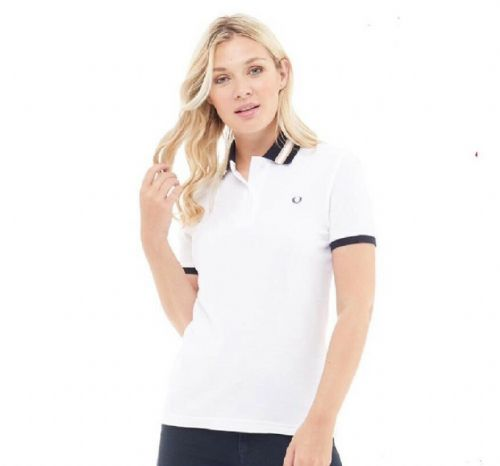Fred Perry Women's Bomber Stripe Collar Pique Polo White BNWT 100% authentic